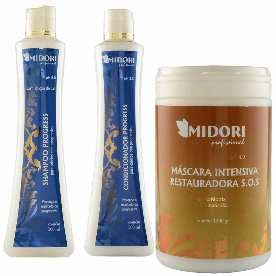 Kit Progress Shampoo e Condicionador 500ml Máscara SOS 1Kg - Midori Profissional