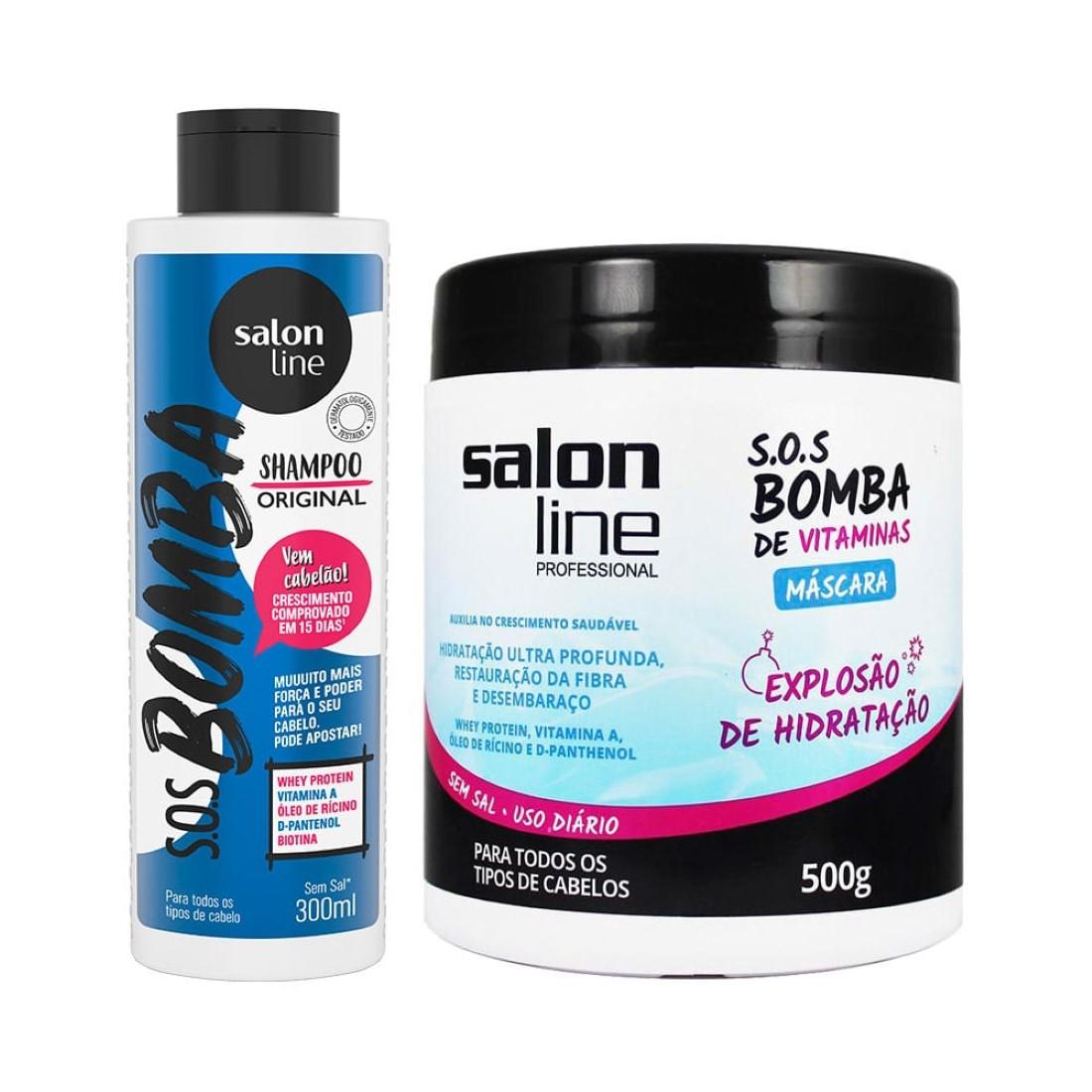 Kit S.O.S Bomba de Vitaminas Shampoo e Máscara - Salon Line
