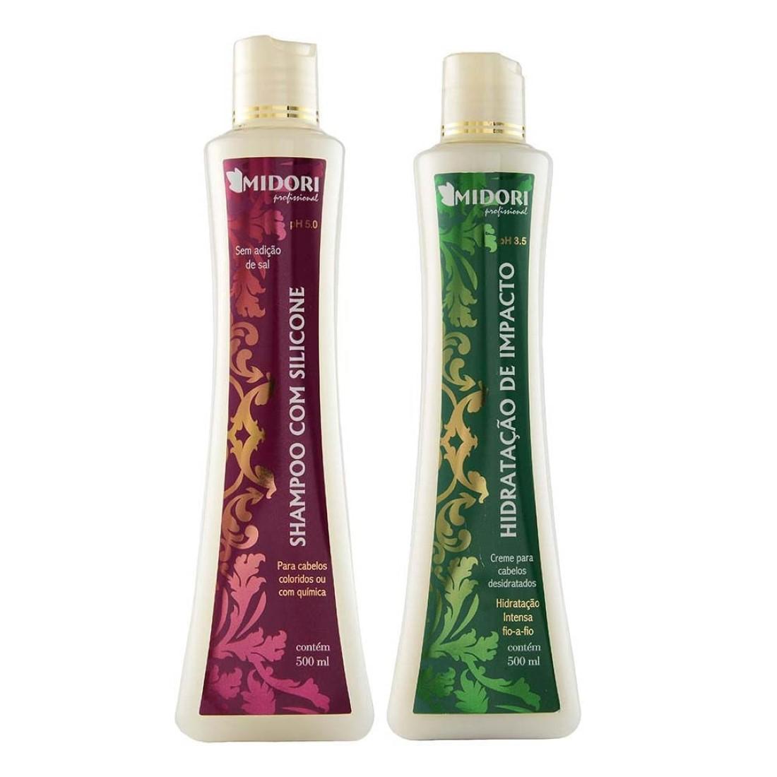 Kit Shampoo com Silicone e Condicionador Hidratação de Impacto - Midori Profissional