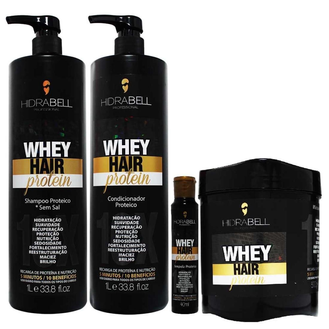 Kit Shampoo Condicionador com Ampola Proteica Grátis e Máscara Whey Hair Protein - Hidrabell