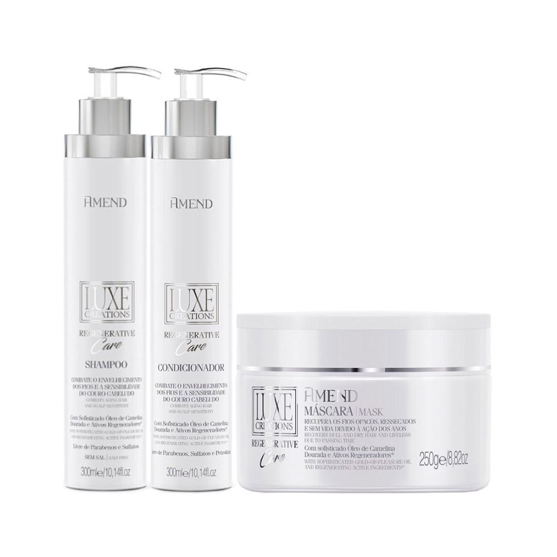 Kit Shampoo Condicionador e Máscara Luxe Creations Regenerative Care - Amend