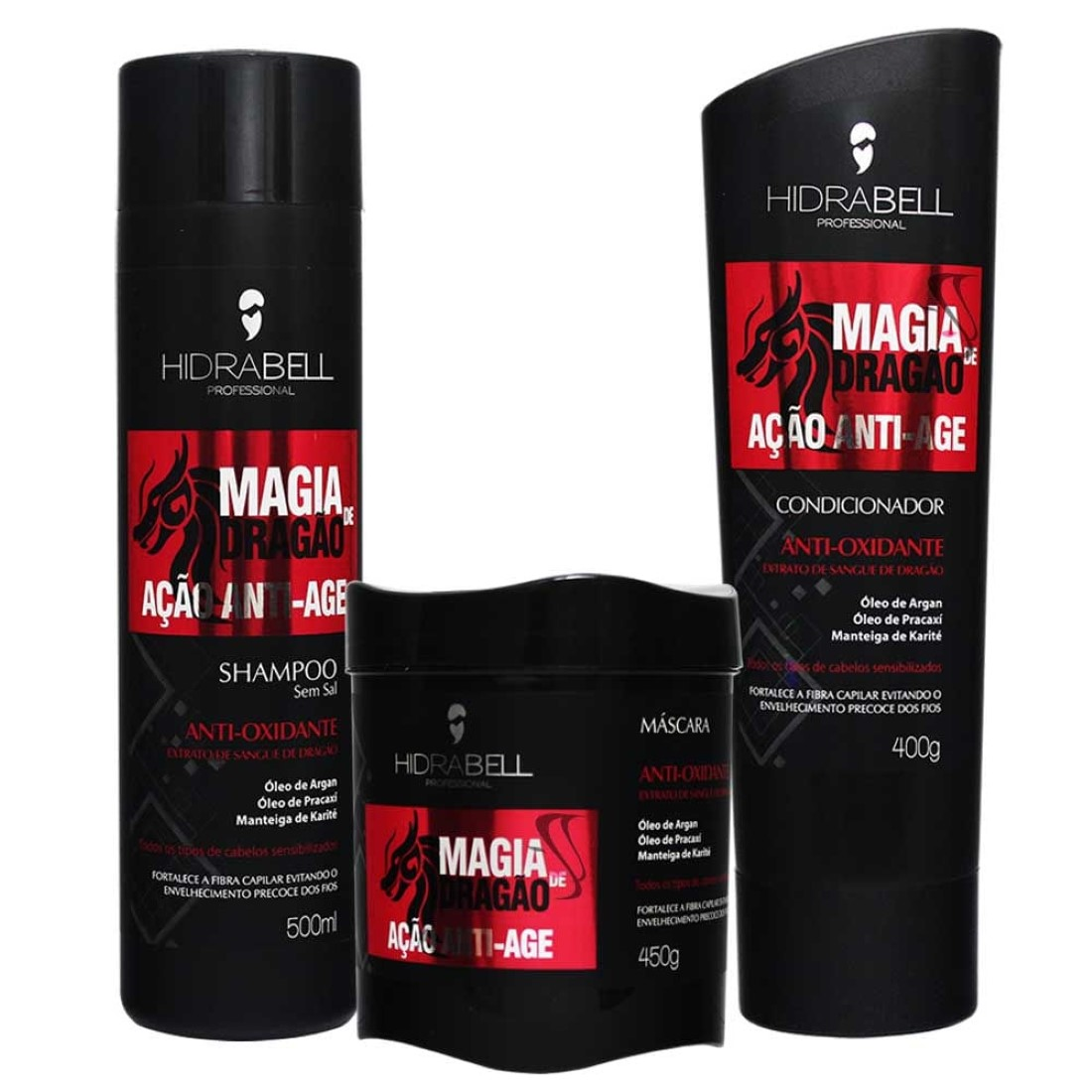 Kit Shampoo Condicionador e Máscara Magia de Dragão - Hidrabell