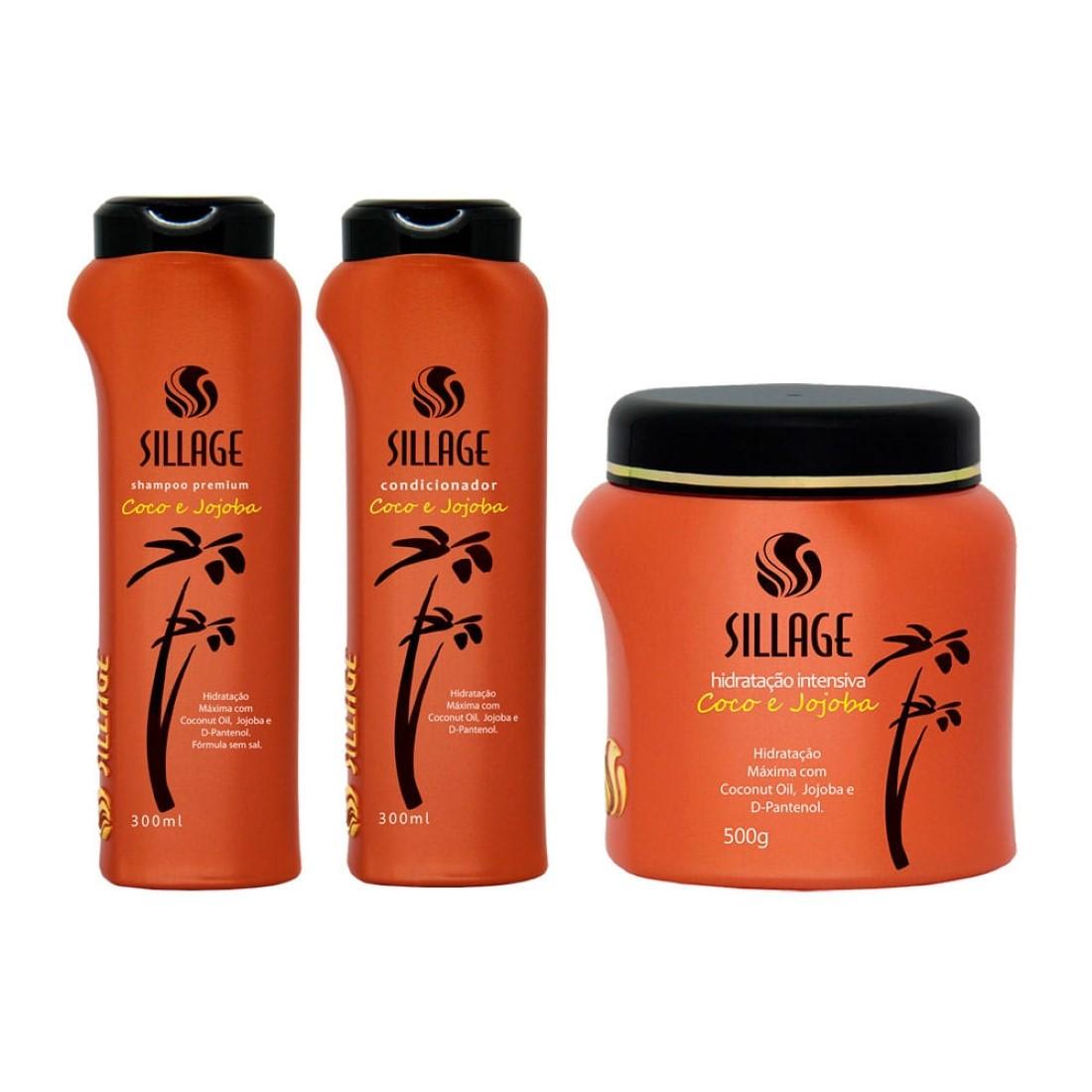 Kit Shampoo, Condicionador e Máscara Premium Coco e Jojoba - Sillage