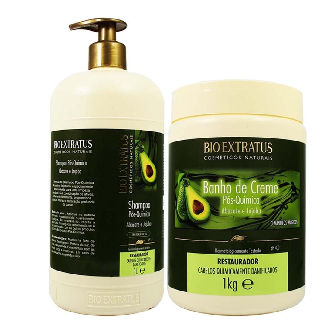 Kit Shampoo e  Banho de Creme Pós Química Abacate e  Jojoba 1kg  - Bio Extratus