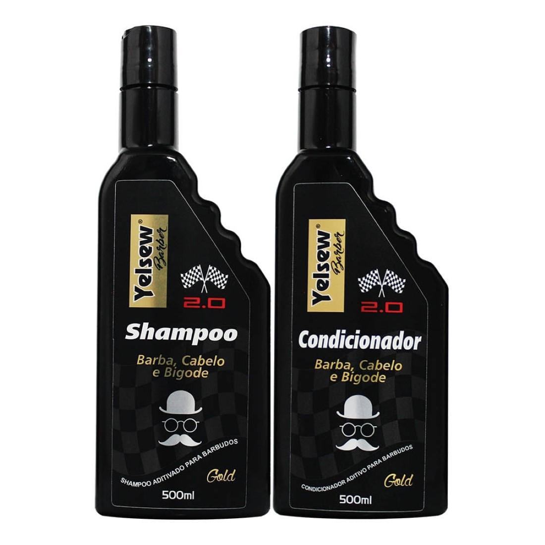 Kit Shampoo e Condicionador Gold Barber 2.0 500ml - Yelsew