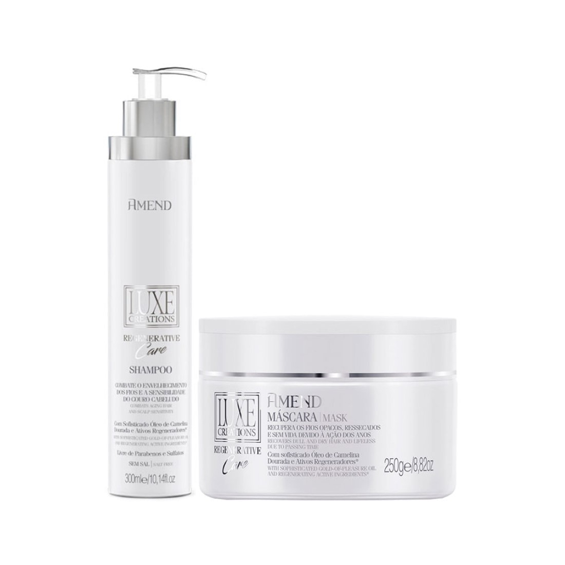 Kit Shampoo e Máscara Luxe Creations Regenerative Care - Amend