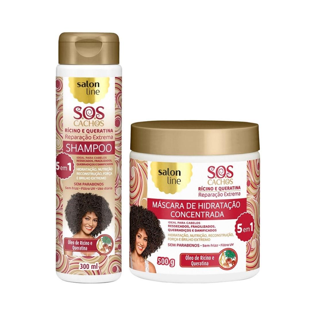 Kit Shampoo e Máscara S.O.S Cachos Reparação Extrema 5 em 1 Rícino e Queratina - Salon Line