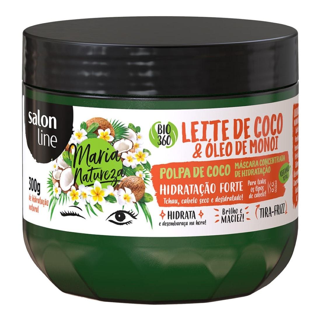 Máscara de Hidratação Concentrada Maria Natureza Leite de Coco e Óleo de Monoi 300g - Salon Line