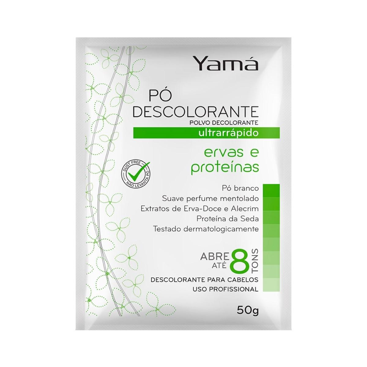 Pó Descolorante Ultra Rápido Ervas e Proteínas  Dust Free Pó Branco 50g - Yamá