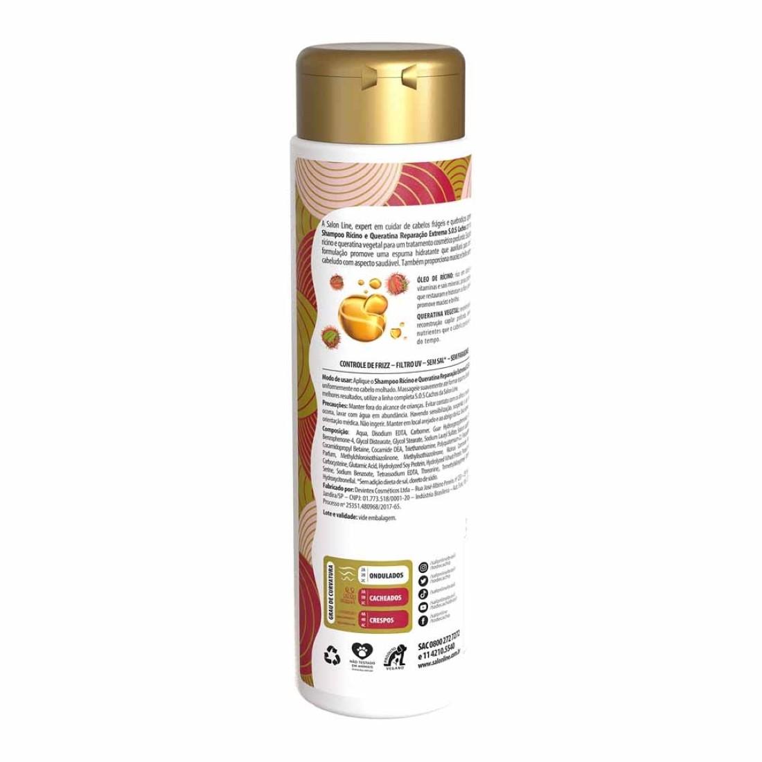 Shampoo S.O.S Cachos Reparação Extrema Rícino e Queratina 300ml - Salon Line