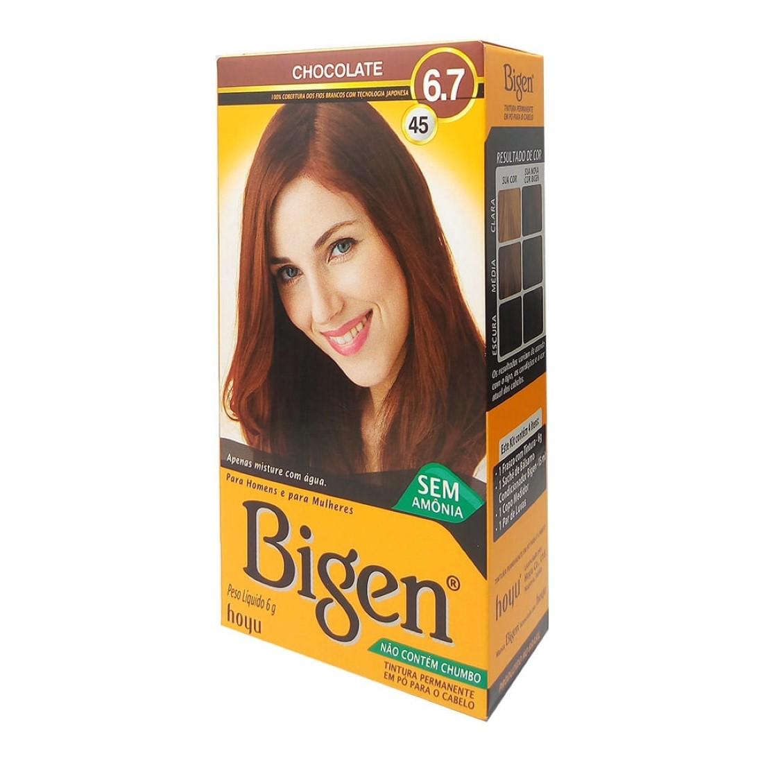 Tintura para Cabelo 6.7 45 Chocolate - Bigen
