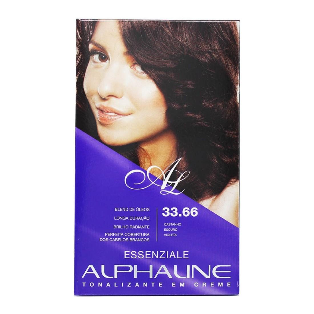 Tonalizante em Creme Essenziale Castanho Escuro Violeta 33.66 - Alphaline