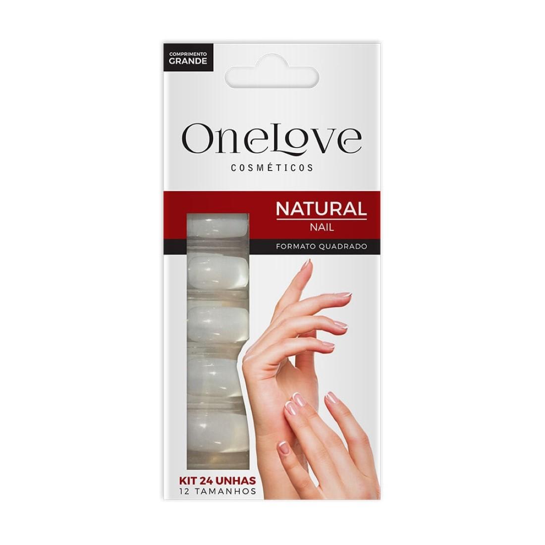 Unhas Postiças Natural Nail OL-001 Formato Quadrado Comprimento Grande - One Love
