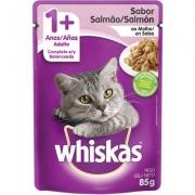 Sachê Whiskas Gatos 1 + Adulto Sabor Salmão ao Molho