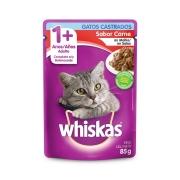 Sachê Whiskas Gatos Castrados 1 + Sabor Carne ao Molho