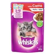 Sachê Whiskas Gatos Filhote 2 a 12 Meses Sabor Carne ao Molho