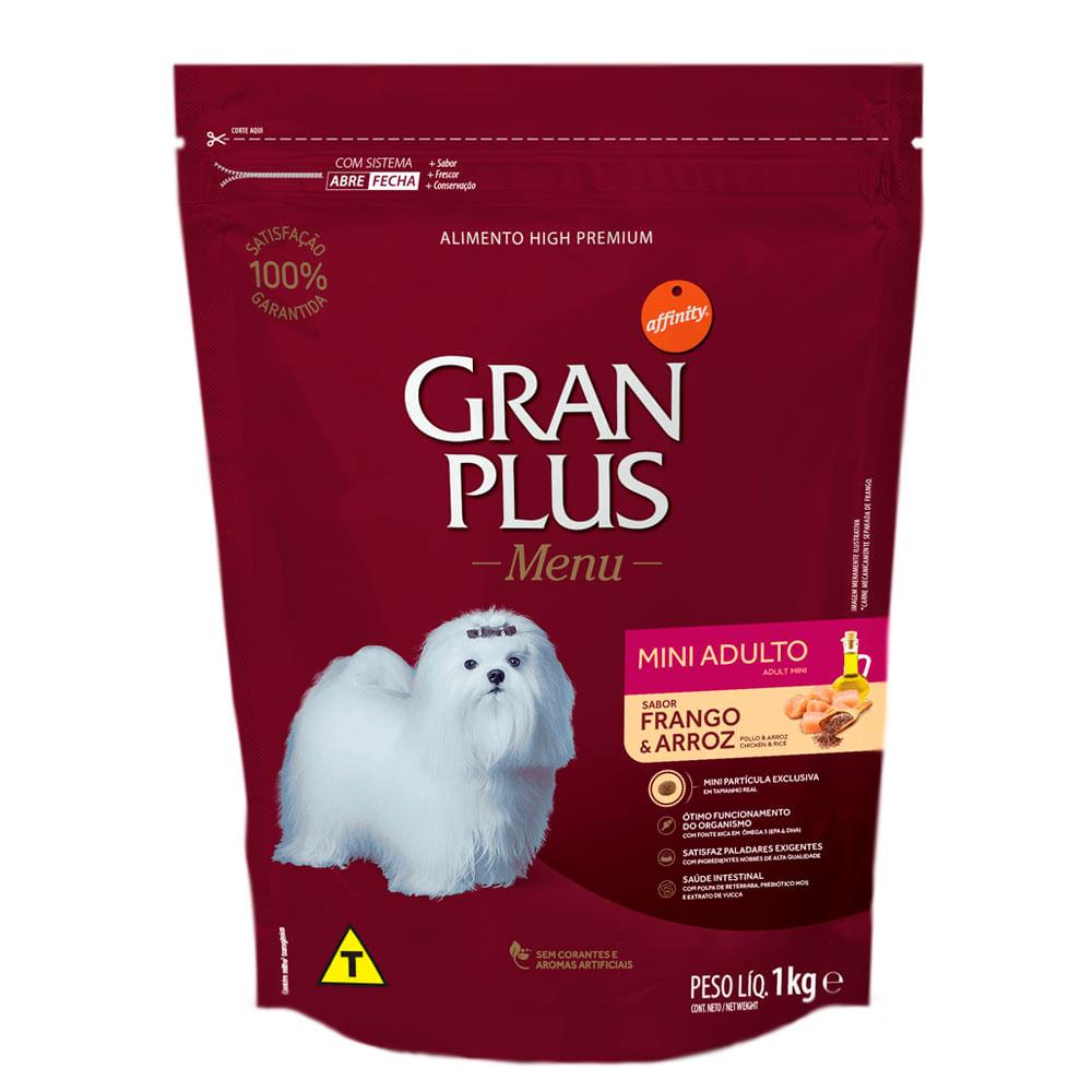 Ração Gran Plus Menu Cães Adulto Mini Frango e Arroz 1Kg.