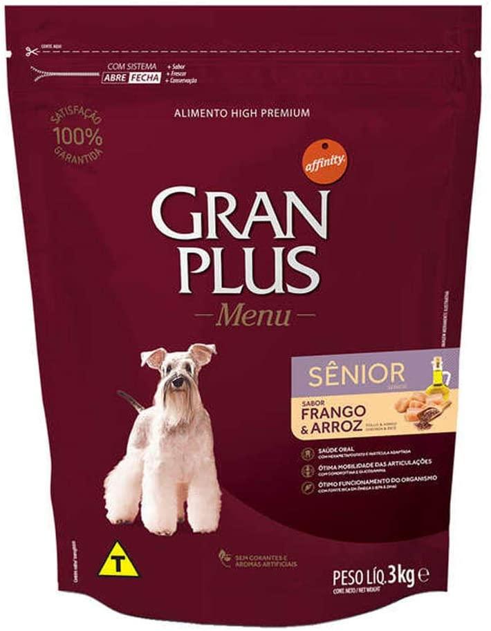 Ração Cães Sênior Gran Plus Menu Frango e Arroz 3Kg