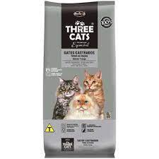 Ração Three Cats Salmão para Gatos Castrados