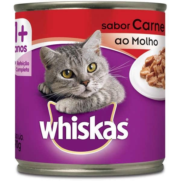 Ração Whiskas Carne ao Molho Lata 290 Gr