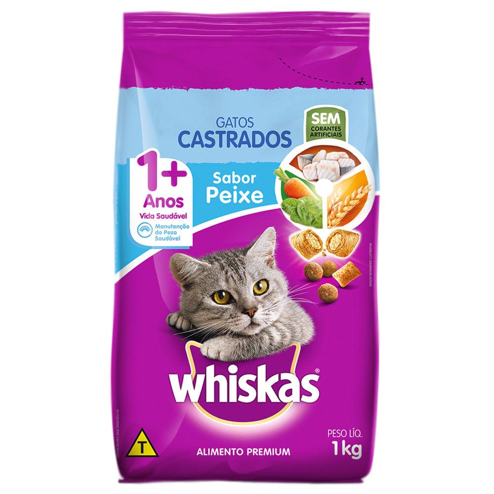Ração Whiskas Gatos Castrados 1+ Sabor Carne