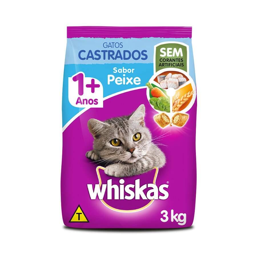 Ração Whiskas Gatos Castrados 1+ Sabor Peixe - 3 Kg