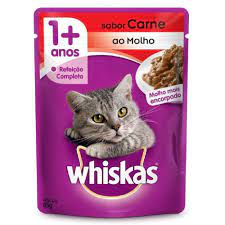 Sachê Whiskas Gatos 1 + Adulto Sabor Carne ao Molho