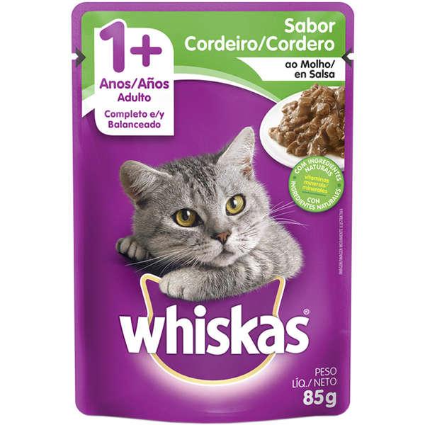 Sachê Whiskas Gatos 1 + Adulto Sabor Cordeiro ao Molho