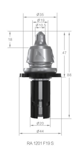 Bits para fresamento de asfalto, valetadeiras e recicladoras  com haste de 20 mm referência Gesac RA1201 F19S