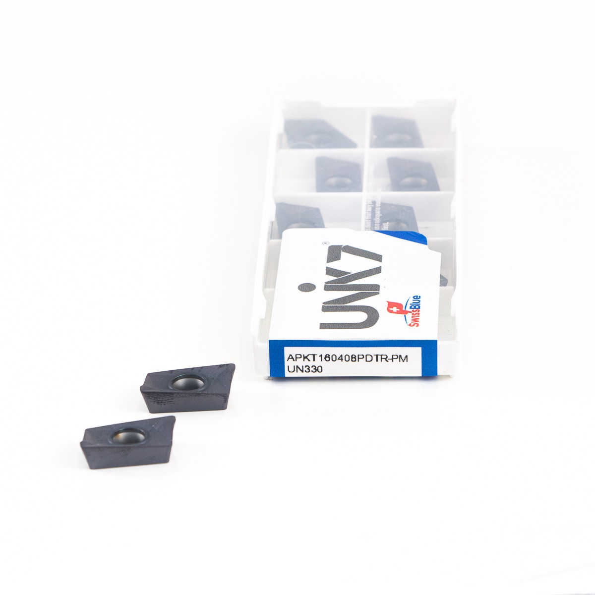 Pastilha de metal duro com revestimento para fresa intercambiável referência Unik7 APKT160408 PDTR PM UN330