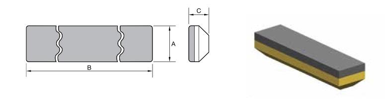 Placa anti desgaste Kencast tipo Chocky Bar, referência Kennametal KCWB0471