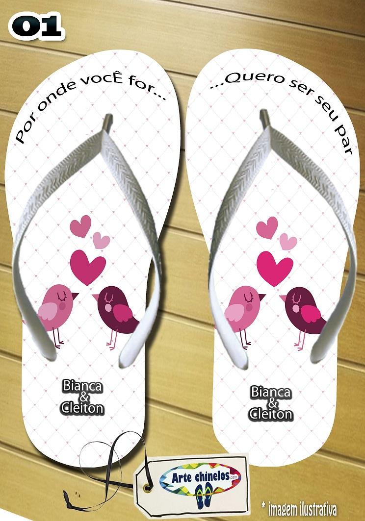 Chinelos personalizados para casamento, lembrancinha mod. 01