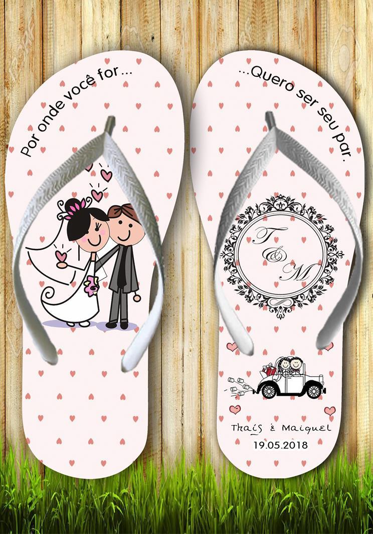 Chinelos personalizados para casamento, lembrancinha mod. 02