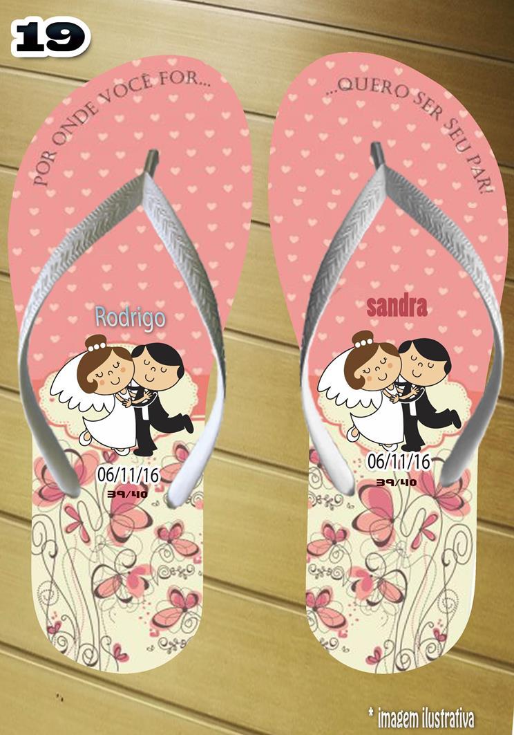 Chinelos personalizados para casamento, lembrancinha mod. 03
