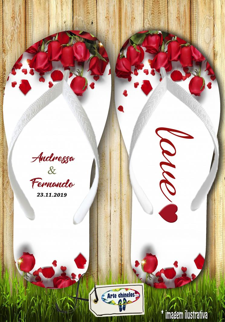 Chinelos personalizados para casamento, lembrancinha mod. 04