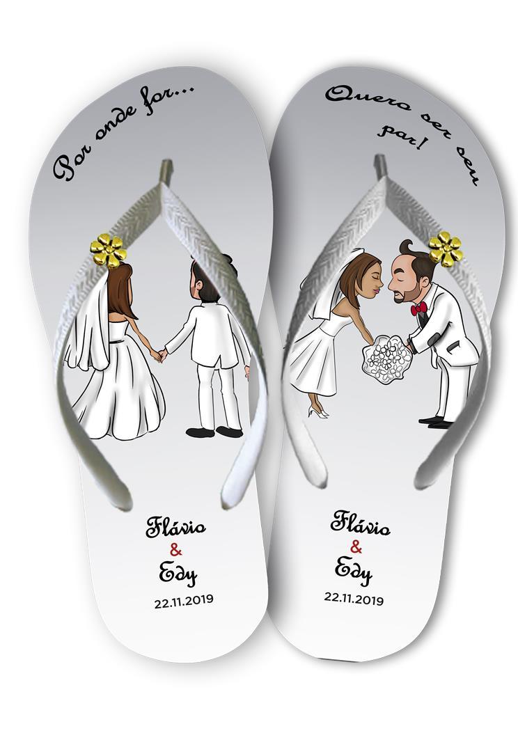Chinelos personalizados para casamento, lembrancinha mod. 08
