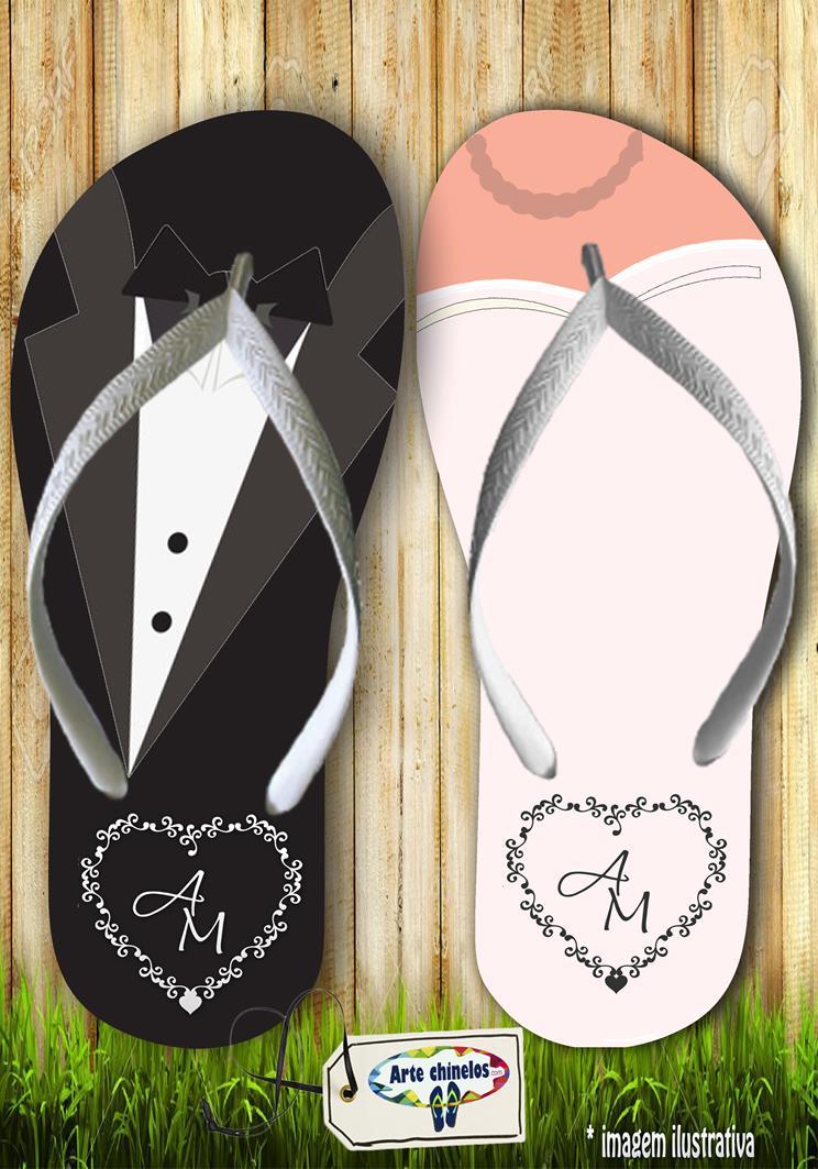 Chinelos personalizados para casamento, lembrancinha mod. 10