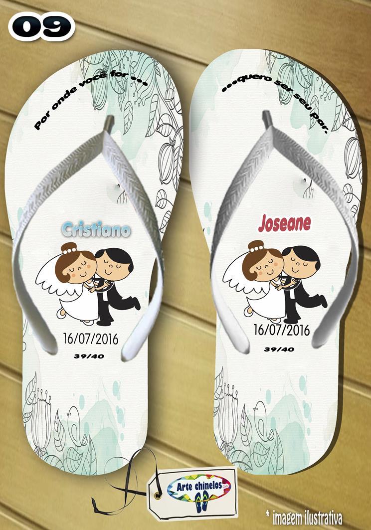 Chinelos personalizados para casamento, lembrancinha mod. 25