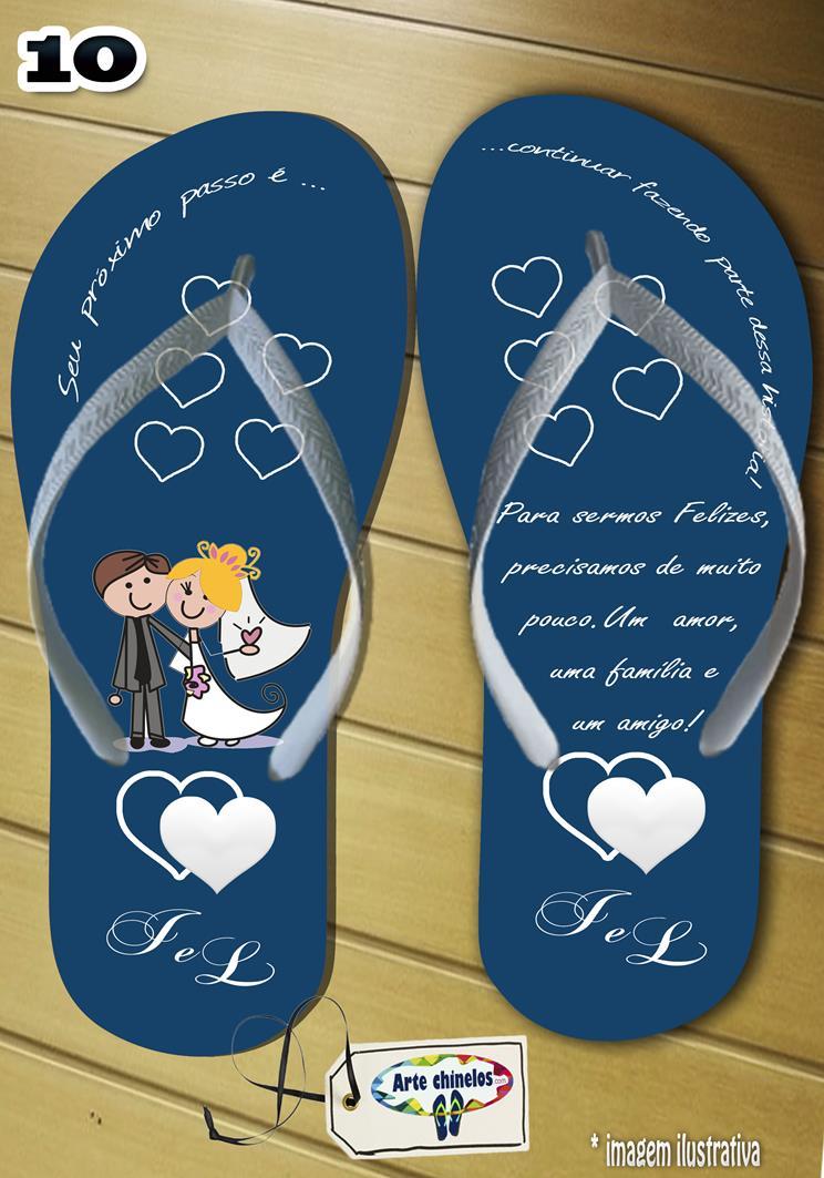 Chinelos personalizados para casamento, lembrancinha mod. 37