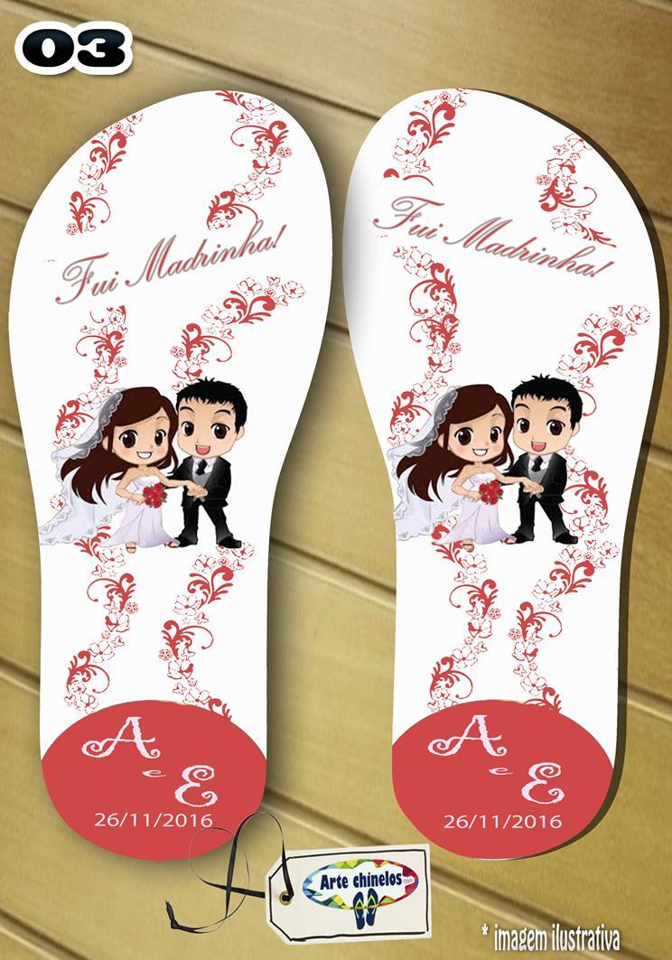 Chinelos personalizados para casamento, lembrancinha mod. 46