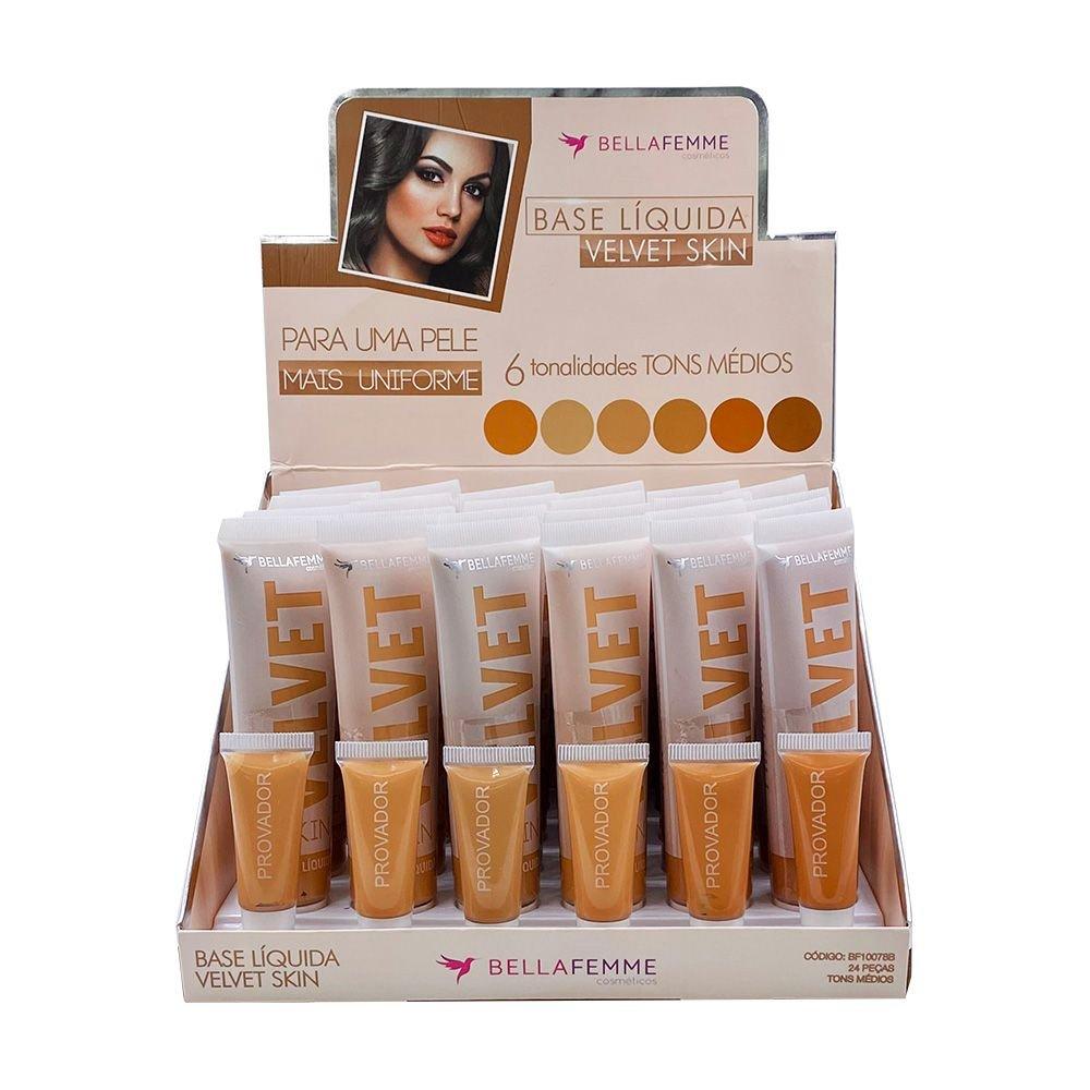 Base Líquida Velvet Skin Cor B - Bella Femme - Box com 24Un. (BF10078B)