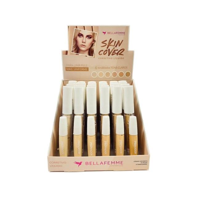 Corretivo Líquido Skin Cover Tons Claros Bella Femme - Box com 24Un. (BF10047A)
