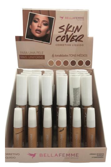 Corretivo Líquido Skin Cover Tons Médios - Bella Femme - Box com 24Un. (BF10047B)