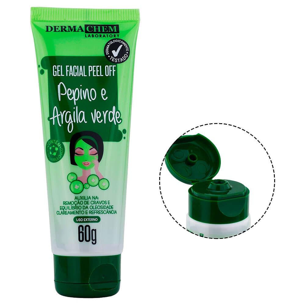 Gel Facial Peel Off Pepino e Argila Verde 60g  - Dermachem