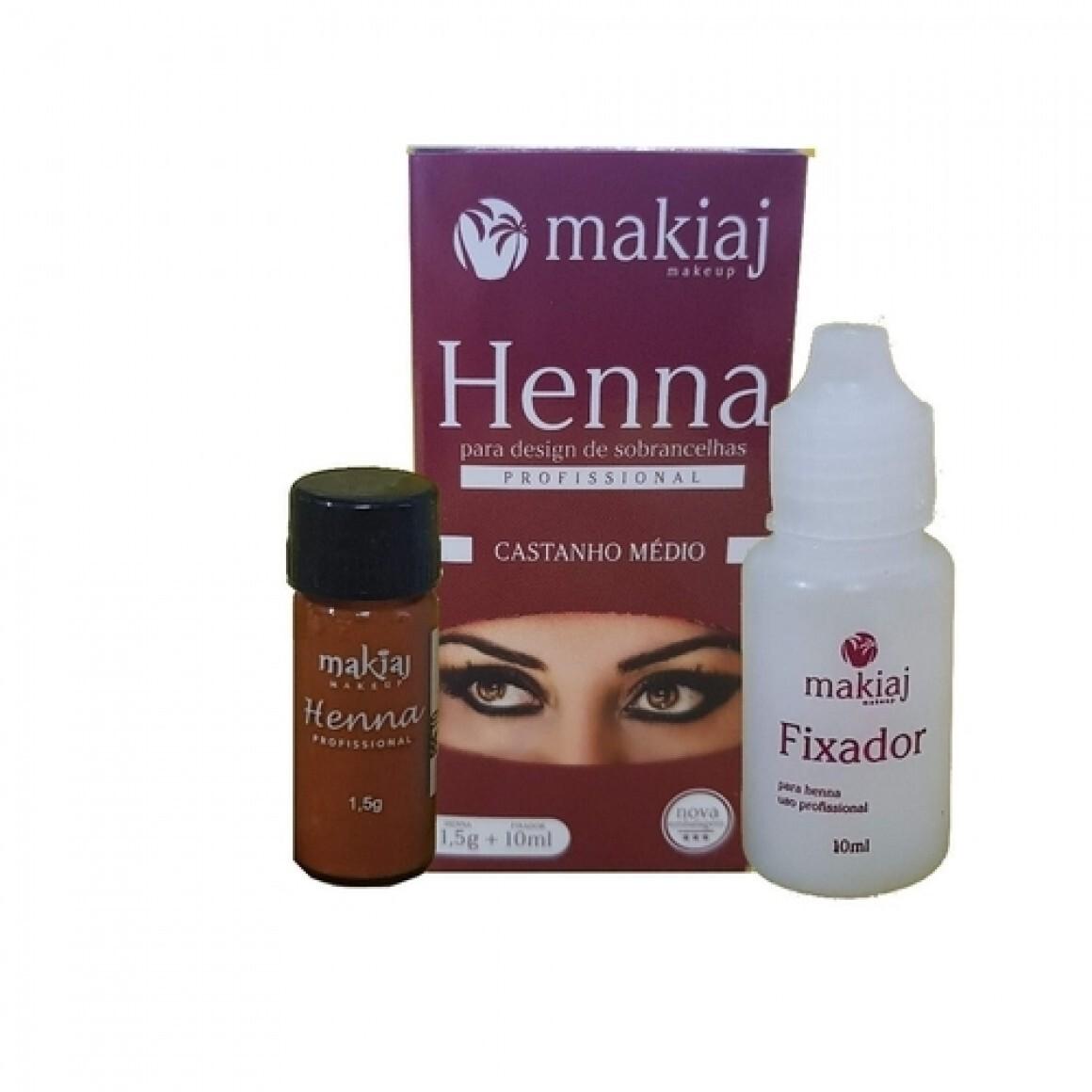 Henna + Fixador (CASTANHO MEDIO) - Makiaj