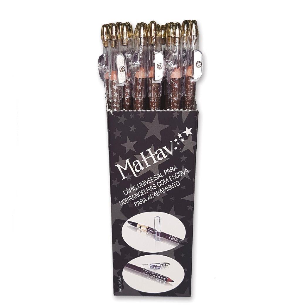Lápis Universal para Sobrancelha com Escova - Mahav - Box com 36Un. (LPSMH)