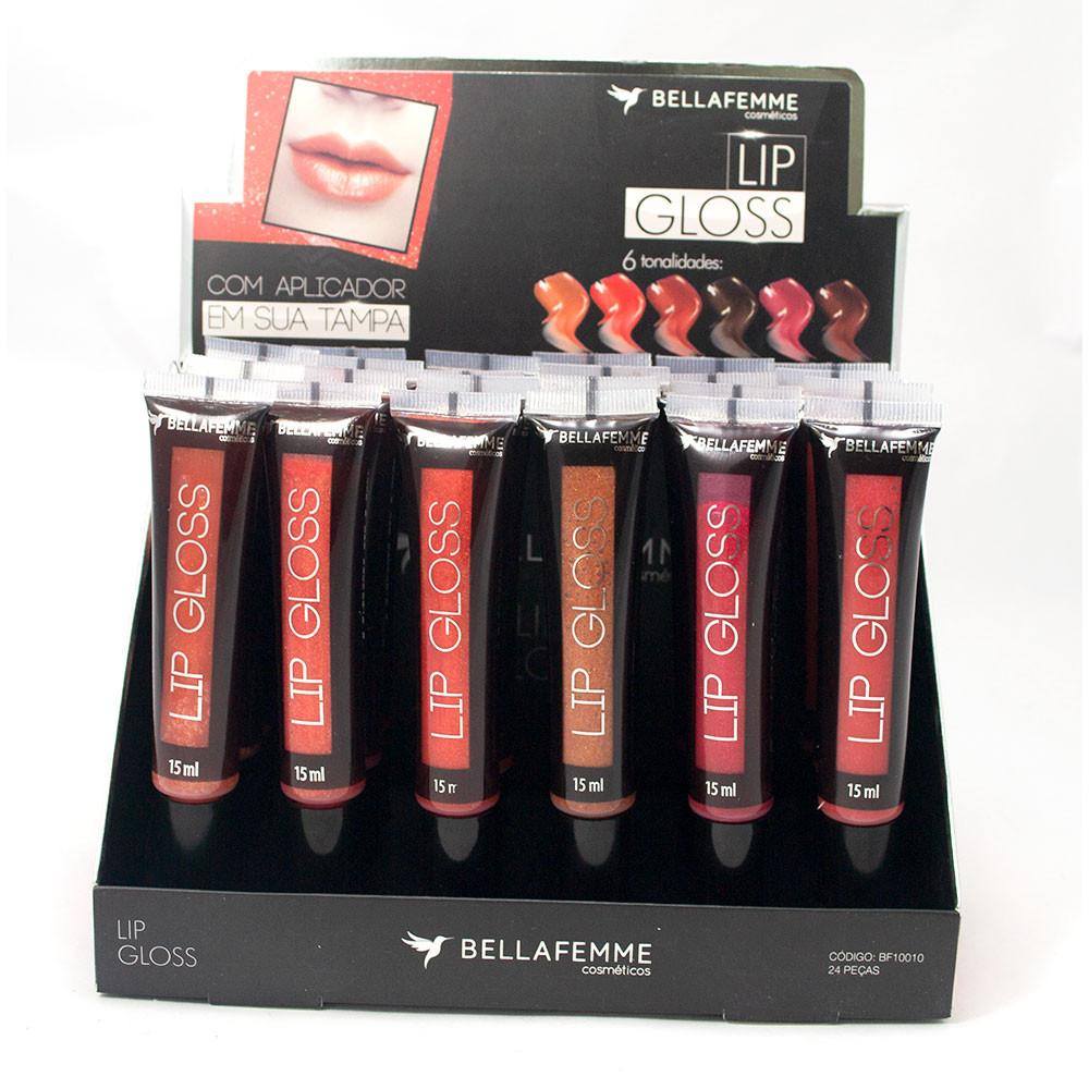 Lip Gloss 6 Tonalidades - Bella Femme - Box com 24Un. (BF10010)