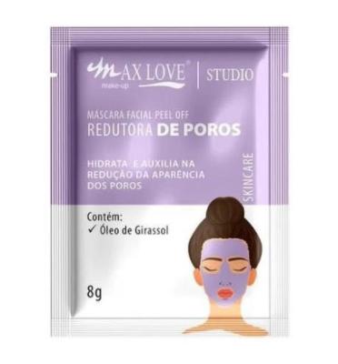Máscara Facial Peel Off Redutor de Poros - Max Love - Box com 60Un.