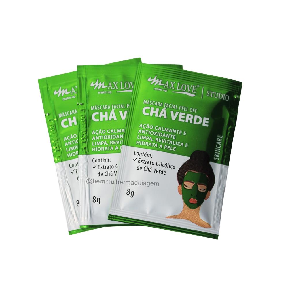 Máscara Facial Peel Off Sachê Chá Verde Max Love - Box com 60Un.