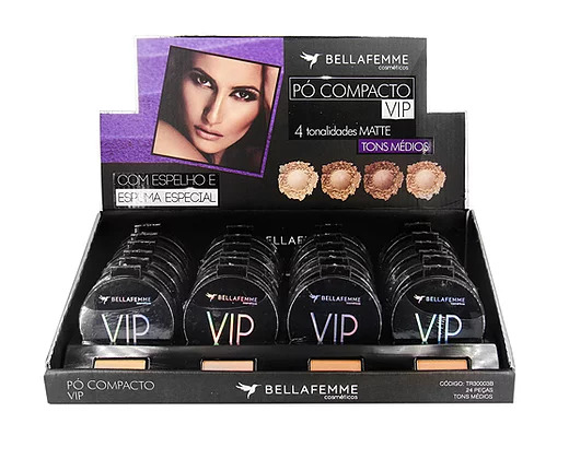Pó Compacto Vip Tons Médios - Bella Femme - Box com 24Un. (TR30003B)